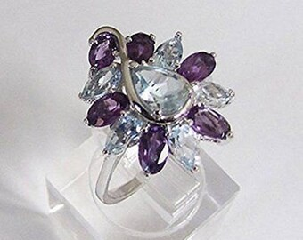 (Jewelry) Amethyst Blue Topaz silver ring size 57