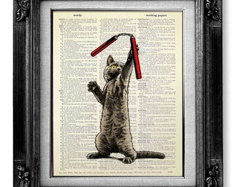 Cute HOME Decor Gift for Cat Lover GIFT, Funny Wall Art Print, Cute Room Decor TEEN Boy Gift Teen Gift Kids Gift Son, Funny Poster Cat Print