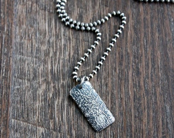 Men's Textured Silver Pendant on Chain