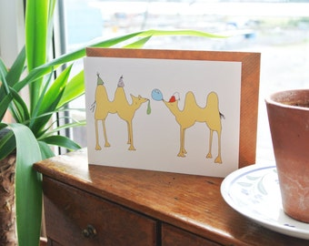 Funny Camel Greetings card - Birthday card - camel party - Fun Cards - Celebration