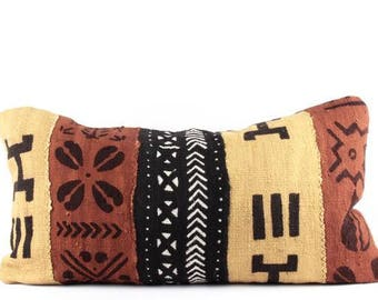 "Clay multicolored mudcloth pillow lumbar | earth toned african mud cloth pillow | small lumbar mudcloth pillow | 12"" x 22"""
