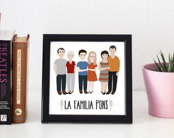 Custom family Drawing / Custom Portrait Couple / Custom save the date / Personalized Illustration / Wedding or anniversary gift