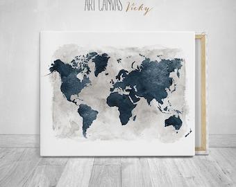 World map art canvas watercolour print, ArtCanvasVicky