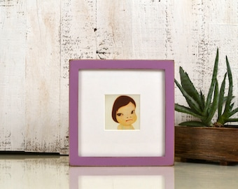 "7x7"" Square Picture Frame in Peewee Style with Vintage Violet Finish - IN STOCK - Same Day Shipping - 7x7 Photo Frame Rustic Purple Paint"