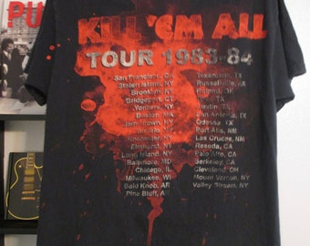 Metallica Shirt. Kill 'Em All. Tour/Album Shirt. Vintage T-shirt. Graphic Tee. 1980's. Retro Black. Heavy Metal Concert. Urban Streetwear.