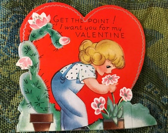 Vintage Die-Cut Valentine-Little Girl and a Cactus