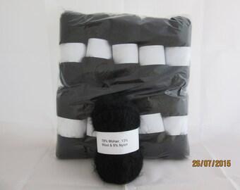 Black Mohair Yarn Mohair/Wool/Nylon 78/13/9 500g (10x50g balls)