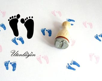 Stamp mini baby feet, baby, feet, foot print, rubber stamp Ø 12 mm