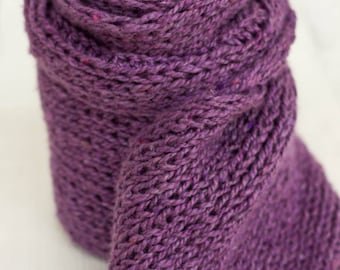 Long knit scarf, soft wool scarf, berry color scarf, winter wool scarf, long scarves, soft and cozy, hand knit scarf, purple scarf, wool