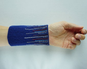 Blue, red and white wrist warmers/ knitted wristlets with beads / woollen cuffs –ready to ship