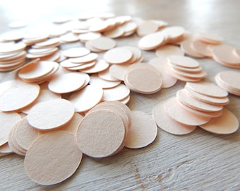 Circle Confetti Peach Shimmer  - Card stock Table Scatter - Wedding Decor - Photo Prop - Rice Toss Alternative