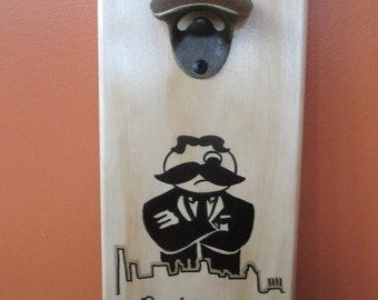 Bohtimore Baltimore Skyline Wooden Bottle opener with magnetic cap catcher bottle cap catching opener