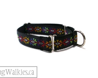 "Aztec Temple Dog Collar // 1"" (25mm) Wide // Martingale or Quick release // Black // Red // Lime // Yellow // Orange // Blue"