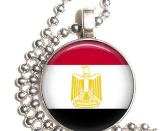 Egypt Flag, Altered Art Pendant, Earrings and/or Keychain, Round Photo Silver and Resin Charm Jewelry, Flag Earrings, Flag Key Fob