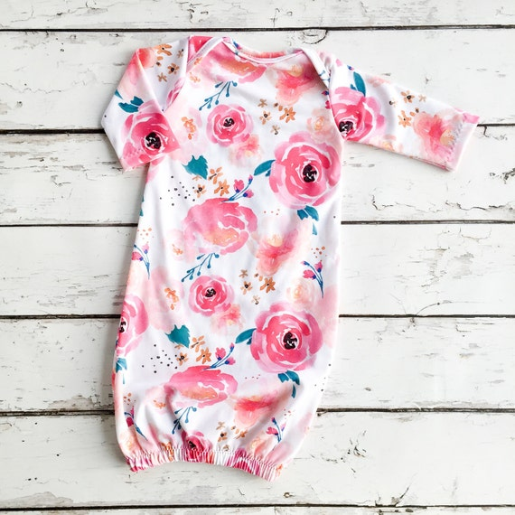 Floral Infant Sleep Gown Watercolor Layette Babies First