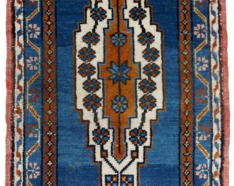 Small Turkish Runner Rug Oushak Decorative Handwoven Rug Turkish Antique Rug 1.7 x 3 ft  F-
