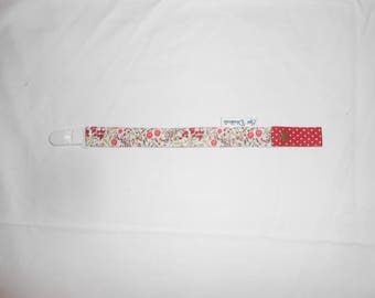 Attached hanging pacifier lollipop red flower pattern and dots for baby only