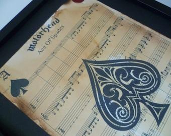 Motorhead, Ace of spades, sheet music artwork, music art, ace of spades print, song lyric art, sheet music, custom art, music gifts