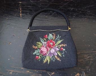 Vintage Handbag Creation by Harilela's Black Seed Beads Floral Petit Point
