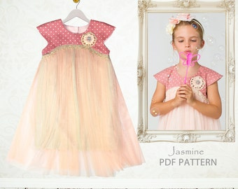 Childrens Sewing Pattern PDF, Girls Dress Pattern pdf, Tutu Dress Pattern, Flower Girl Dress Pattern, Easy Sewing Pattern, JASMINE