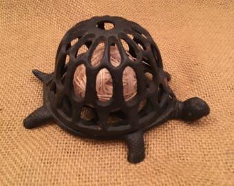 vintage cast iron turtle string holder