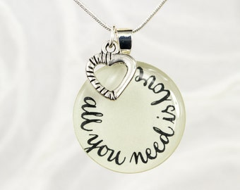 Valentine's Day Gift, All You Need Is Love Necklace, Word Jewelry, Inspirational Gift, Quote Necklace, Romantic Gift, Anniversary Gift
