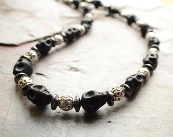 Lucas - Mens Necklace Black Skull Silver Beaded Necklace