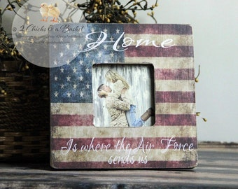 Home Is Where The Air Force Sends Us Picture Frame, Personalized Picture Frame, Air Force Family