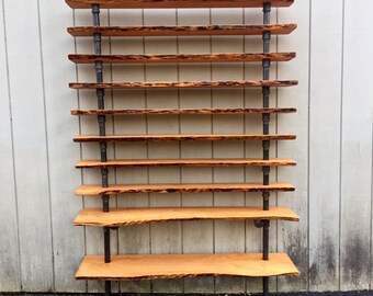 Living Edge Hemingway Wall Mount Bookcase Reclaimed Wood Bookshelf Pipe Bookshelf Shelf Built In Industrial Shelving Store Live Edge Storage