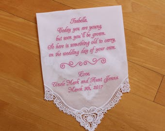 Flower girl Handkerchief, Wedding Hankerchief, EMBROIDERED-CUSTOMIZED-Wedding Gift-Flower girl gift-personalized-today you are young-LS0F38