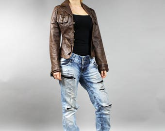 Brown Leather Glam Crop Jacket . Genuine Leather Old School Rocker Fitted Jacket . Slimfit Biker Moto Boho Chicano Leather Coat . Sz XS to S
