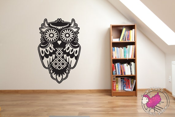 Sugar Skull Owl Silhouette Outline Wall Decal Stickers