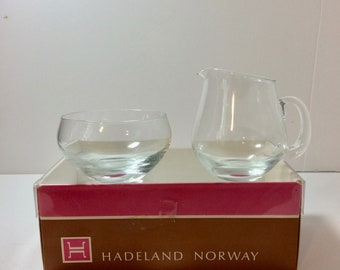 Gorgeous Vintage Hadeland Norway Glass Sugar and Creamer