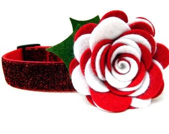 Dog Collar Flower Holiday Flower Peppermint Twist