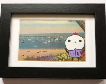Seaside Cupcake - Upcycled Thrift Store Postcard