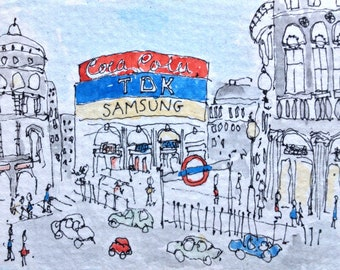 Aceo Origional Watercolour LONDON PICCADILLY CIRCUS