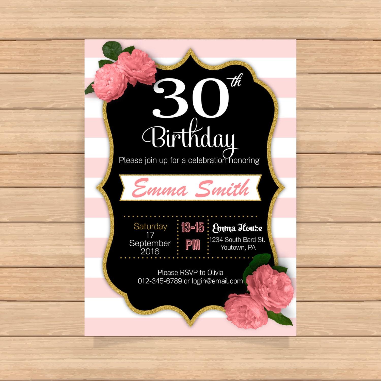 Único Plantilla De Invitación De 30 Cumpleaños Patrón - Ejemplo De ...