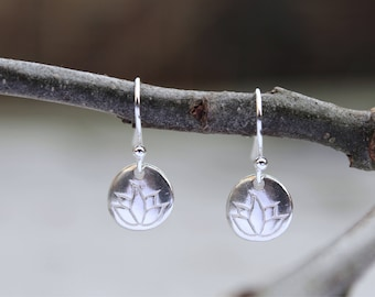 Lotus Flower Pebble Drop Earrings (Sterling Silver)