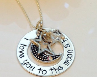 Hand Stamped I love You to the Moon and Back sterling silver necklace-star and moon necklace-mom-mommy necklace