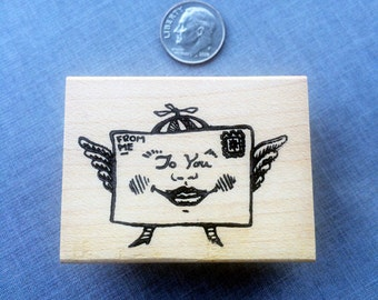 Happy Winged Letter For You Rubber Stamps