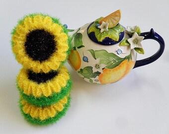 Crochet / Sunflower Scrubbers, set of Three