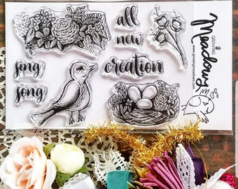 All Creation Sing Stamp Set Clear Bird Nest Flowers Floral New song Jesus Christian Art Worship Bible Journaling Growing Meadows Tai Bender