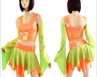Pixie Day-Tripper Set in Lime Holo & Orange Sparkly 154383