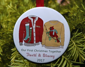 Our First Christmas Together Ornament - Ugly Christmas Sweaters - customized with your names - C251 Second Third Fourth