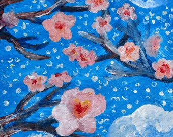 Finger Painting- Cherry Bloom Moon original painting of City, Moon and Stars