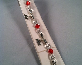 Red and silver beaded charm bracelet - Affordable Jewelry - Handcrafted - Red - Joy Hope Love - Silver - Charms - Gift For Her