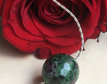 Ruby in Zoisite Choker. Ruby in Zoisite Pendant. Ruby in Zoisite Necklace.