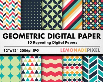 Geometric Digital Paper - Tileable Background, Repeating Pattern, Scrapbooking paper, herringbone paper, Chevron paper, Geometric Pattern