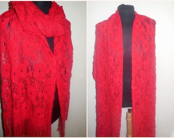 Vintage Shawl Red Long Fringle Knit Lace Crochet Sheer Knit Scarf Shoulder Wrap Cover up Accessories Retro