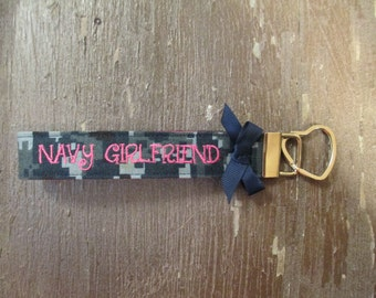 Military Wristlet, Navy Girlfriend Name Tape Key Chain, Navy Girlfriend Military Keychain, Navy Girlfriend Key Fob with a bow